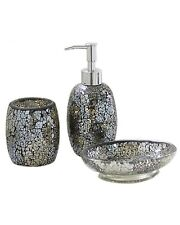 Black and Gold Sparkle Mosaic Glass Bathroom Set Soap Dispenser Dish Toothbrush
