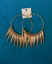Harley Quinn Inspired Gold Tone Spiked HUGE Earrings NWT Da Vinci