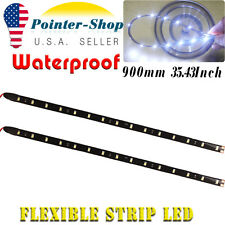 "2x 90CM 35"" LED Strip Bar Waterproof Flexible Car Motor Bike Decor Light White"