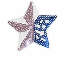 Iron Patch Sew Embroidered Sequins Badge Cloth Sequin Motif Patches Star #8