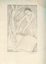 Mujer escribiendo. Litografia de Gaspar Escuder Berga (1892-1988). Firmada.
