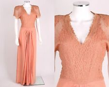 VTG 1930s 1940s DUBARRY PEACH PINK LACE & CREPE EVENING DRESS GOWN SZ S