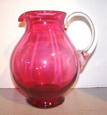 Victorian Cranberry Glass Rib Optic Pitcher