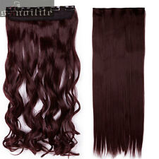 "One Piece Long 17-30"" Clip in real as human Hair Extensions Half Full Head SN90"