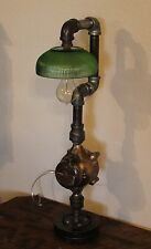 Steampunk Lamp Vintage Industial Table Light Farmhouse Brass Green Glass