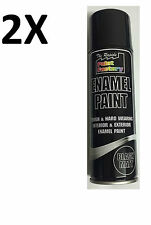 2x Enamel Black Matt Paint Spray Aerosol 250ml Radiator Metal Wood On Sale