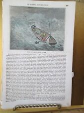 Vintage Print,LIFE BOAT IN STORM,Colored,American Magazine,19th Century