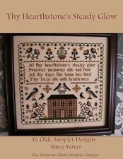 Thy Hearthstone's Steady Glow,antique sampler style,chart(10pg) block,symbols