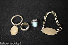 Vintage Sterling Silver Lot of 4 Estate Items - Mexico Wedding Band - Key Ring +