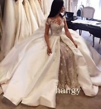 Detachable Mermaid Wedding Dress Luxury Beading Lace Cathedral Train Bridal Gown