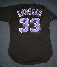 AUTHENTIC Russell Athletic JOSE CANSECO TAMPA BAY DEVIL RAYS Jersey 44 L A's Blk