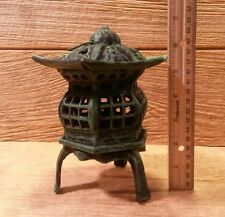 "Cast Iron Footed Pagoda Lantern 7"" Tall Garden Decor 0170S-14019"