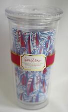 Lilly Pulitzer Tumbler Cup Lid Reusable Red Right Return Sailboat Blue 20 oz