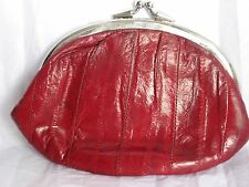 RED EEL SKIN WALLET COIN PURSE FRAME DOUBLE CLASP