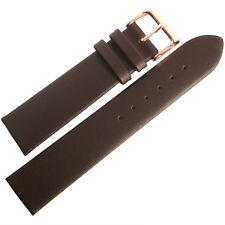 17mm Fluco Consul Brown Smooth Leather ROSE GOLD Buckle German Watch Band Strap