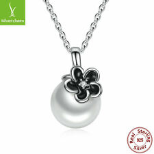 925 Sterling Silver Mystic Floral Pendant Necklace For Women White Pearl Dangle