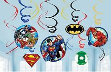 12 x Justice League Superheroes Birthday Party Hanging Swirl Decorations