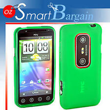 New Green Soft Gel TPU Cover Case For HTC EVO 3D + Screen Protector