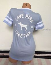Victoria's Secret Pink Powder Baby Blue White Dog Logo Love Pink V-Neck Tee - S