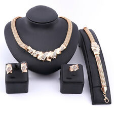 Fashion Women Gold/Silver Plated Crystal Necklace Earring Ring Party Jewelry Set