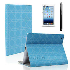 The iPad 2 3 4 Smart Cover Folio Leather Case Stand Film + Stylus Blue Chain
