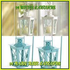 MIXED LOT OF 24 WHITE AND 24 BLUE RAILROAD CANDLE LANTERNS WITH STANDS WEDDINGS!