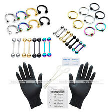 42pc 16G Body Piercing Kit Needle UV Nipple Lip Ring Barbell Clamps PRO Tool Set