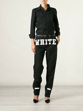OFF WHITE C/O VIRGIL ABLOH black denim logo print jumpsuit mechanic overalls 26