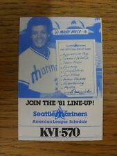 1981 Fixture Card: Baseball - Seattle Mariners (fold out style). Any faults with