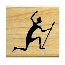 TRIBAL HUNTER Mounted African rubber stamp  #17
