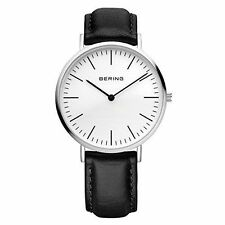 BERING Time 13738-404 Black Leather Strap Sapphire Crystal White Dial Watch