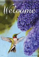 "Ruby & Lilac  Hummingbird Spring House Flag Decorative Double Sided 28"" x 40"""