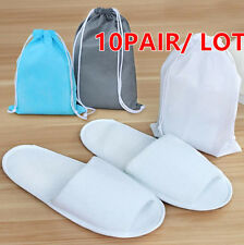 10pair White Breathable Disposable Slippers SPA Slippers Hotel Slippers +bag