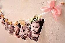 1st Birthday Girl Decorations - 12 Month Photo Banner - Monthly Photo Banner