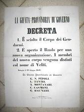 Y489-GOVERNO DELLE ROMAGNE-1859 RIORGANIZZAZIONE MILITARE