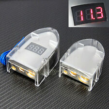 SILVER VOLTAGE DIGITAL LED DISPLAY CAR BATTERY TERMINAL POSITIVE  NEGATIVE SET