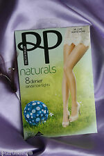 Pretty Polly Naturals Ultra Sheer Cooling 8 Denier Pantyhose Tights Dark Tan XLG