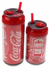 Coca Cola Travel Cups Set 2 Bottles Droplet Pattern 12 & 16 oz Straw Double Wall