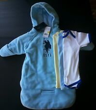 4pcUS POLO ASSN SNOW SUIT COAT WINTER Blue BABY 0-9 M NWT 3 Onesies boys girls
