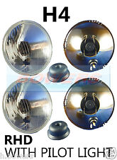 "5 3/4"" FLAT LENS CLASSIC CAR SEALED BEAM HEADLAMPS HEADLIGHTS HALOGEN CONVERSION"