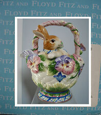 Fitz & Floyd Teapot Halcyon Bunny in the Pansies Floral Basket in orig.Box