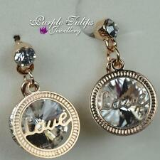 "18CT Rose Gold Plated ""love"" Dangle Stud Earrings W/Swaroski Elements Crystals"