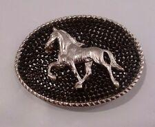 RHINESTONE COWGIRL BLACK Crystal Silver Horse Western Belt Buckle