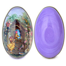 Painted Empty For Candy Tinplate Metal Eggs Large 4'' Easter Day Decoration Gift