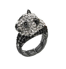 Cute Cuddly Fashion Panda Bear Animal Zoo Black White Clear Crystal Stretch Ring