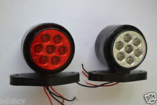 2x 24 VOLT 14 LED REAR SIDE MARKER LIGHTS TRUCK TRAILER HGV BUS RED/WHITE LAMPS