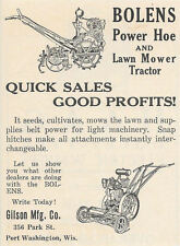1924 GILSON BOLENS POWER HOE & LAWN MOWER GARDEN TRACTOR AD PORT WASHINGTON WI