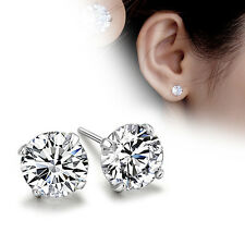 925 Sterling Silver Platinum Plated Chic Crystal Ear Stud Earrings Jewelry Gift