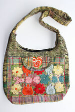 Mexican cross body bag yellow with multi colors embroidery flowers super large