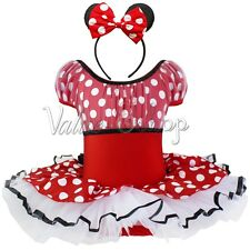Red Toddlers Baby Girls Minnie Mouse Halloween Xmas Costume Tutu Dress + Ears 4T